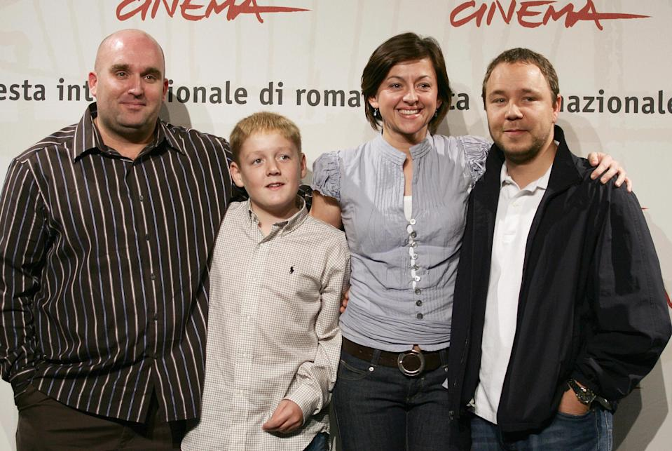 """Shane Meadows poses with (FromL) English actors Thomas Turgoose, Jo Hartley and Stephen Graham during the photocall of """"This is England"""" at the first edition of Rome Film Festival, 18 october 2006. """" (Photo credit TIZIANA FABI/AFP/Getty Images)"""