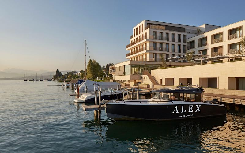 Sleek and airy design, low-key luxury furnishings, a relaxed vibe, and stunning lake views are the hallmarks of the new Alex hotel in Zurich