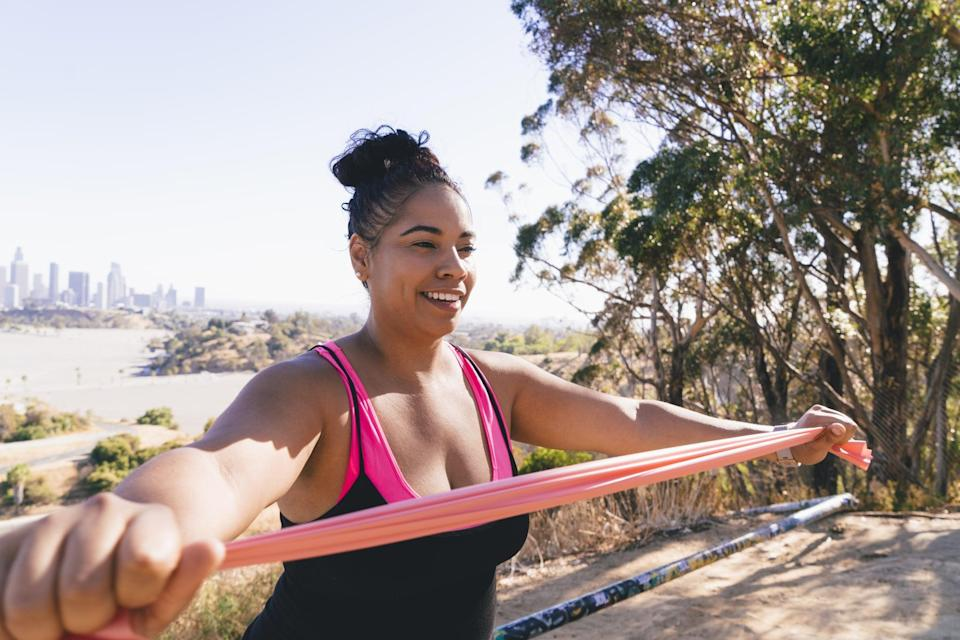 """<p>""""Women typically think of chest day as a man's favorite gym day, but it's equally important for women,"""" Chadwell said. """"Training chest helps to improve posture; it could even give the girls a lift, and you'll improve your upper-body strength.""""</p> <p>Choose any six <a href=""""https://www.popsugar.com/fitness/Chest-Exercises-43742707"""" class=""""link rapid-noclick-resp"""" rel=""""nofollow noopener"""" target=""""_blank"""" data-ylk=""""slk:chest exercises from this list"""">chest exercises from this list</a>, and do three sets of 15-20 reps. Rest for one minute between each set. Each week, choose a different combination of exercises, or at least swap out two of them to keep variety in your workouts.</p>"""