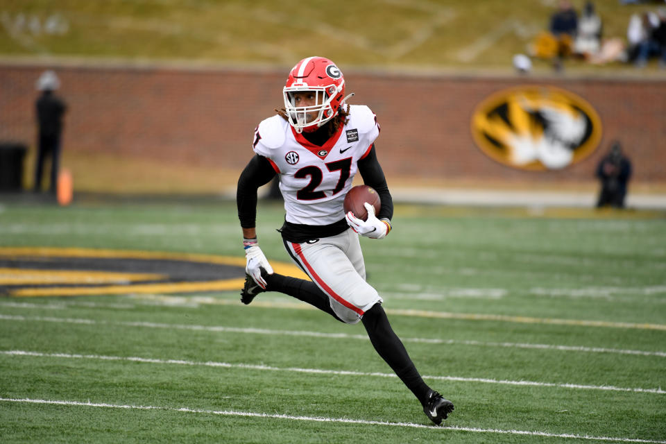 Georgia defensive back Eric Stokes had four career INTs — all in 2020. (AP Photo/L.G. Patterson)