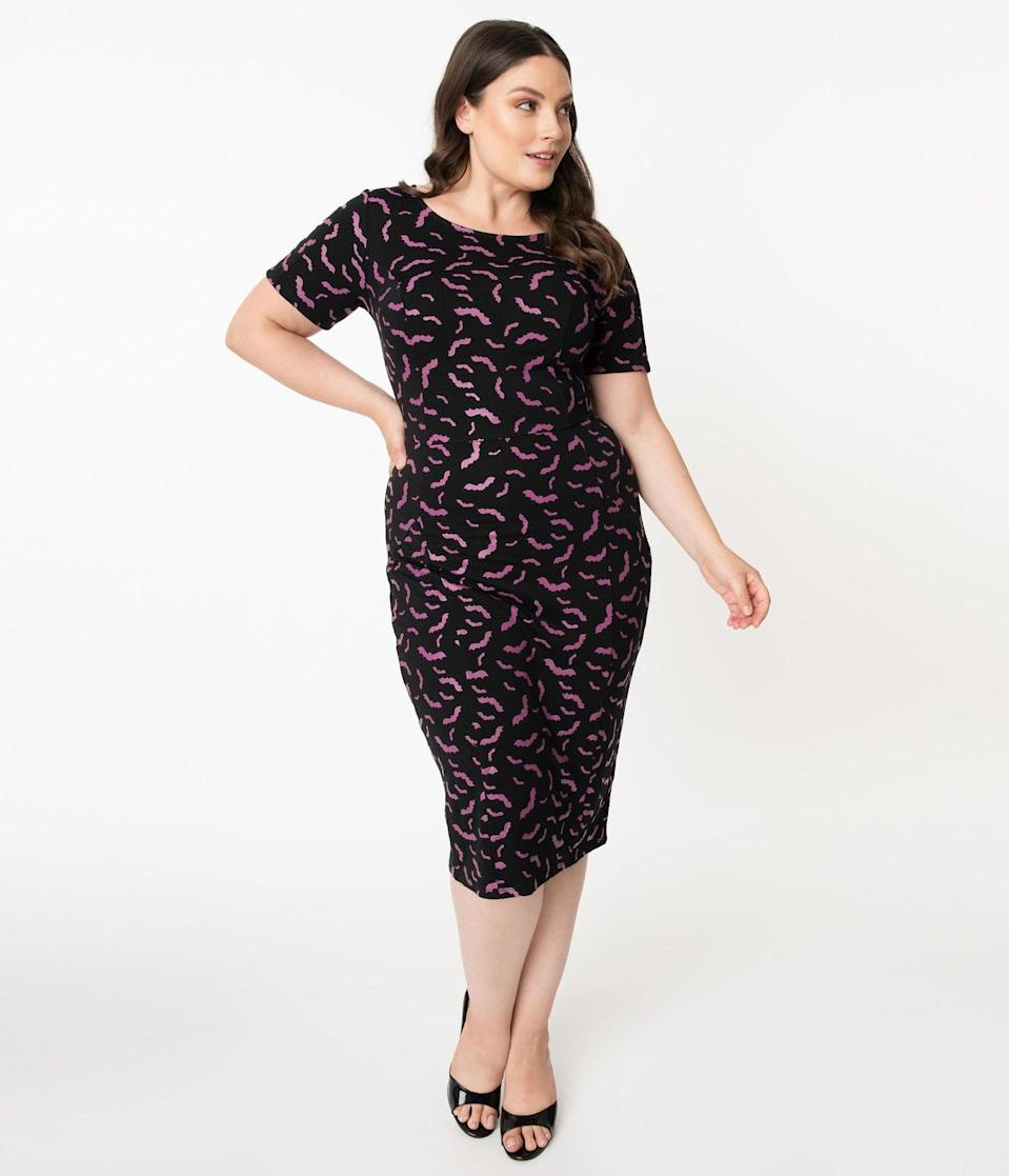 <p>Dress your best in this spooky <span>Unique Vintage Plus Size Black and Purple Bats Short Sleeve Mod Wiggle Dress</span> ($68).</p>