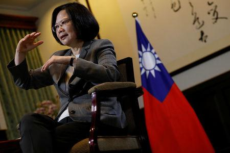 Taiwan President Tsai Ing-wen reacts during an interview with Reuters at the Presidential Office in Taipei. REUTERS/Tyrone Siu