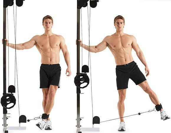 """<p>""""The cable standing hip abduction hits your upper glutes muscles, which are often neglected by most guys,"""" says Contreras. """"The stronger they are, the stronger and more sculpted your backside."""" </p><p>Lower the arm of a cable machine so it's level with your ankle. Stand with one side closest to the cable machine and that foot just behind the cable. Loop your other foot through the handle, and use your glutes to pull that leg out to your side. Pause, and reverse the movement to the starting position. <br><br>Perform your reps with your weaker side before switching legs and performing the same number with your stronger side.</p>"""