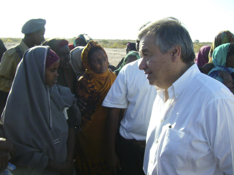 In this Thursday Dec.2, 2010 photo, The U.N. High Commissioner for Refugees, Antonio Guterres, talking to a group of Somali women at a camp for the displaced people in the outskirts of Galkayo, Somalia. Aid workers in Somalia say they are seeing an alarming number of rapes in refugee camps housing those who fled violence in Mogadishu. The Galkayo Education Center for Peace and Development said it has documented 51 cases of rape against women in camps in the Somali town of Galkayo this year. Last year the center documented 104 cases. Many cases go unreported. (AP Photo/Muhumed Malkadir)