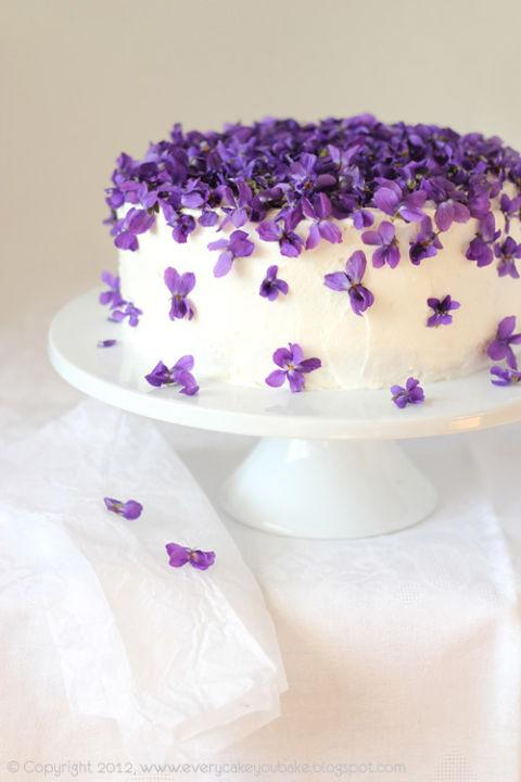PA Cake Showered With Violets Or Any Other Kind Of Edible Flower