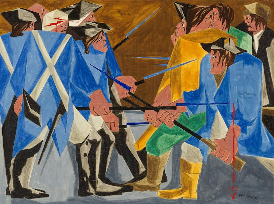 """Jacob Lawrence's revolutionary, 30-panel series, """"Struggle: From the History of the American People"""" is in a touring exhibition at the Seattle Art Museum. Shown here is Panel 16, painted in 1956."""