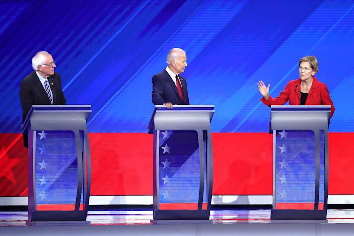 From left, Bernie Sanders, Joe Biden and Elizabeth Warren. (Photo: Win McNamee/Getty Images)