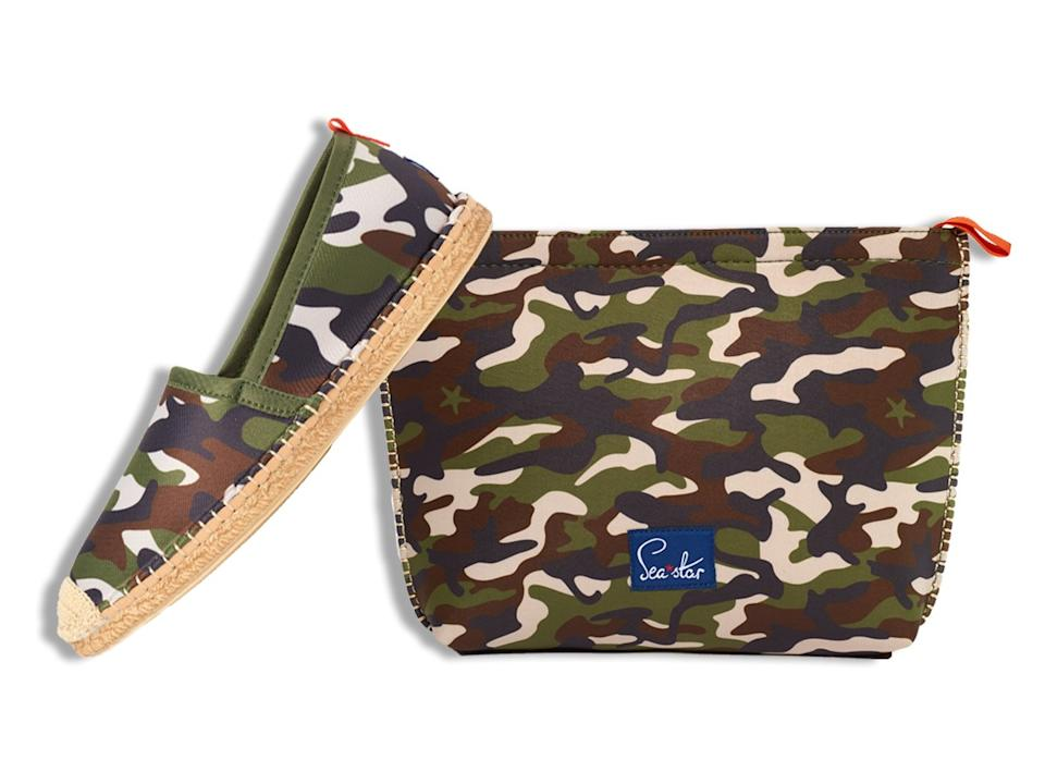 Sea Star Beachwear Beachcomer espadrille in camo ($96) and large Voyager pouch in camo ($40). seastarbeachwear.com