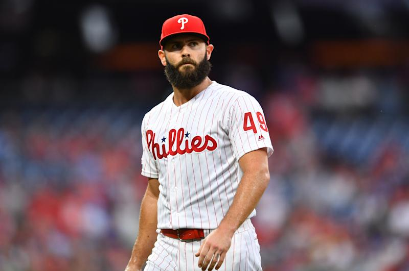 PHILADELPHIA, PA - JULY 26: Philadelphia Phillies Starting Pitcher Jake Arrieta (49) walks to the dugout in the third inning during the game between the Atlanta Braves and Philadelphia Phillies on July 26, 2019 at Citizens Bank Park in Philadelphia, PA. (Photo by Kyle Ross/Icon Sportswire via Getty Images)