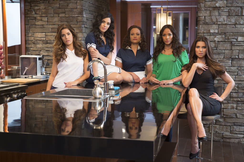 "Ana Ortiz, Edy Ganem, Judy Reyes, Dania Ramirez and Roselyn Sanchez in the Lifetime series ""Devious Maids."""