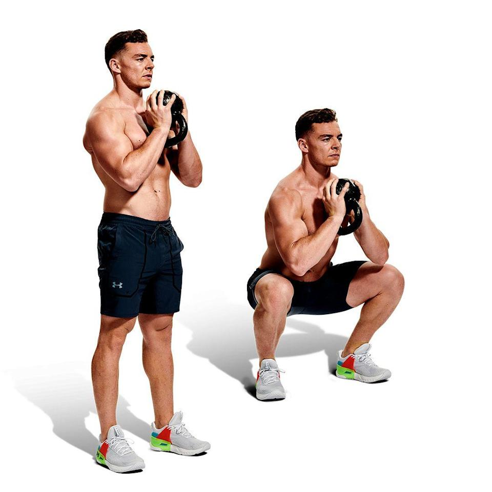 <p>Hold a kettlebell to your chest with your feet at shoulder width. Keeping your chest up, slowly lower into a squat until your thighs are parallel to the floor. Pause and return to standing. Your legs, hips and lower back should be working fluidly, with your upper body hardly moving. Complete your reps, then grab another kettlebell.</p>