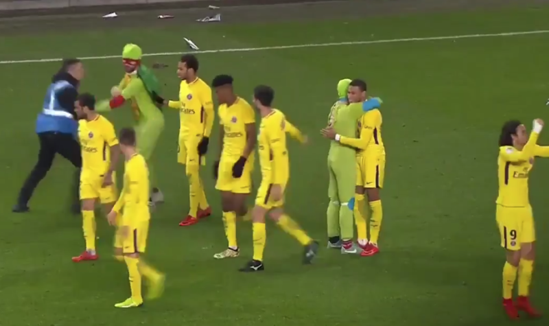 Ninja Turtles Invade Pitch To Celebrate With Kylian Mbappe