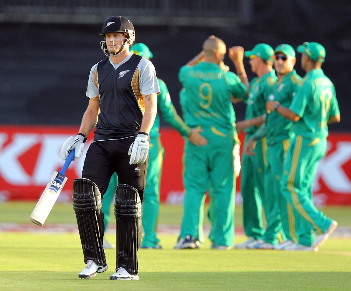DURBAN, SOUTH AFRICA - DECEMBER 21:   Rob Nicol of New Zealand is dismissed during the 1st T20 match between South Africa and New Zealand at Sahara Park Kingsmead on December 21, 2012 in Durban, South Africa.  (Photo by Anesh Debiky/Gallo Images/Getty Images)