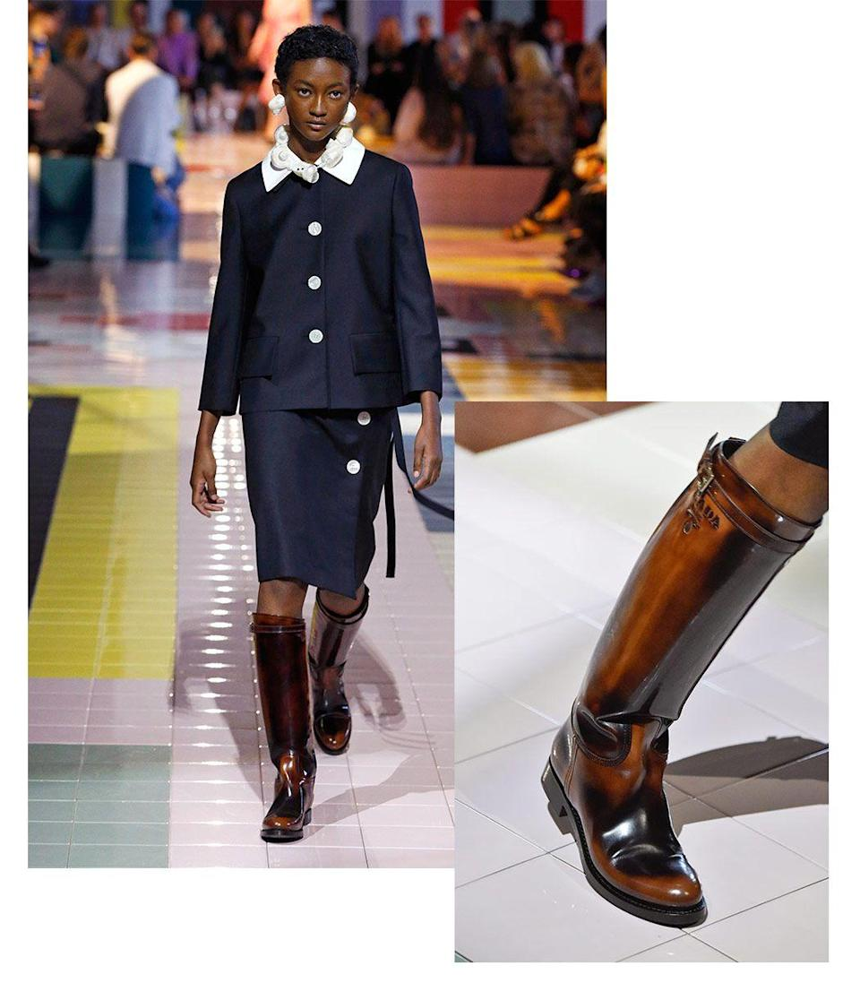 <p>These riding boots walked straight off the Prada runway and into our hearts. We love seeing the equestrian style make its way to high fashion. Straight from Princess Diana's wardrobe and into yours.</p><p><em>Inspiration from Prada</em></p>