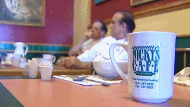 Nicky's Cafe in Regina has been a part of the morning breakfast scene for almost 30 years. A photo from before the pandemic shows regulars having breakfast. John Hopkins at the Regina and District Chamber of Commerce said a careful reopening is key to the province's economic recovery.