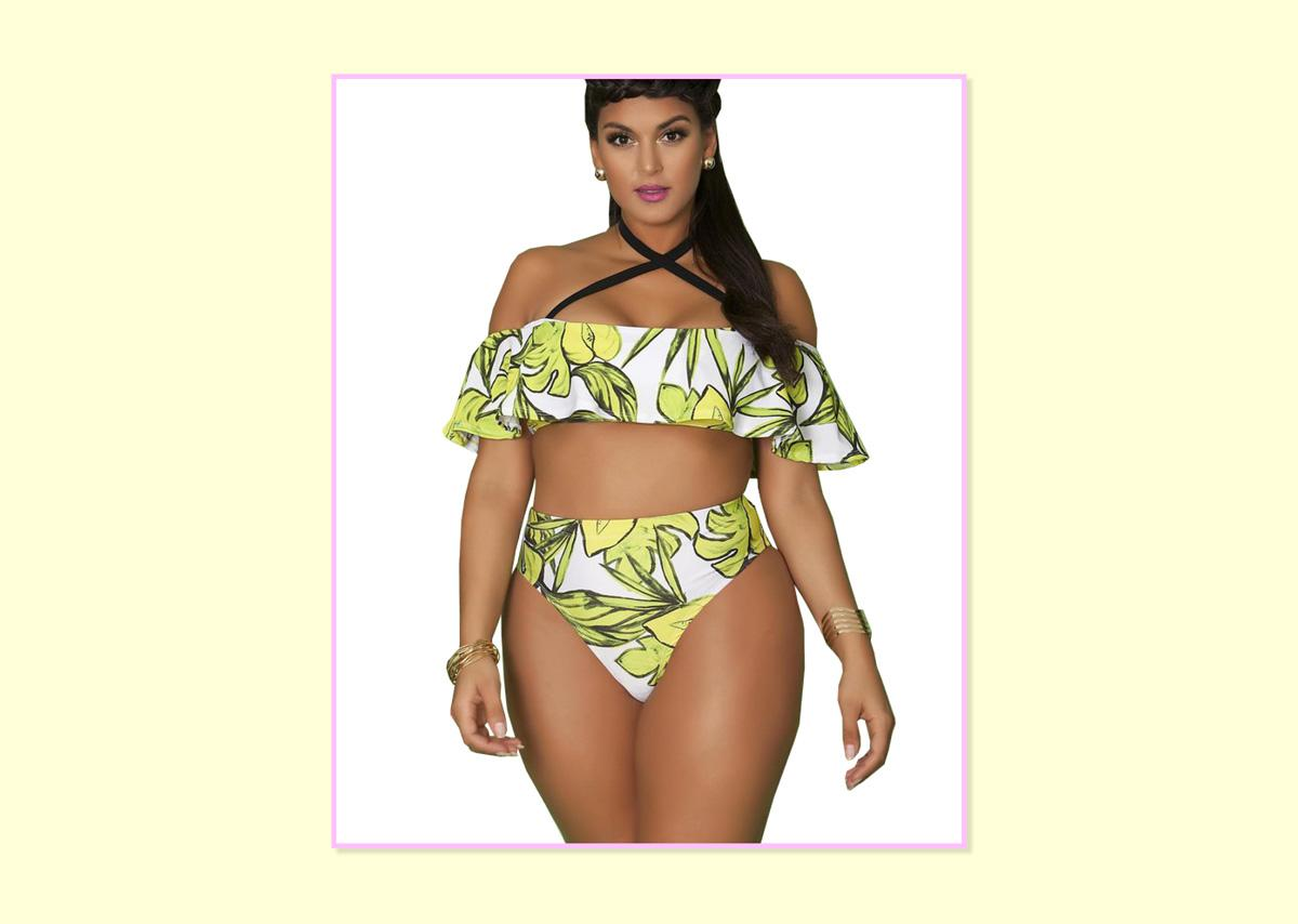 "<p><a rel=""nofollow"" href=""https://rue107.com/collections/swim/products/asha-bikini-top-evergreen"">Top</a>, $64, and <a rel=""nofollow"" href=""https://rue107.com/collections/swim/products/asha-bikini-bottom-evergreen"">bottom</a>, $52; Rue 107. </p>"