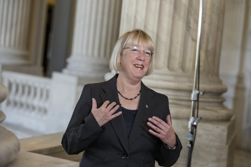 Senate Budget Committee Chairwoman Patty Murray, D-Wash., the architect of a bipartisan budget deal negotiated with Rep. Paul Ryan, R-Wis., the House Budget Committee chairman, discusses the compromise spending plan during a television news interview on Capitol Hill in Washington, Wednesday, Dec. 18, 2013. The bill is designed to keep Congress from lurching from fiscal crisis to fiscal crisis and ease the harshest effects of the automatic budget cuts known as the sequester. (AP Photo/J. Scott Applewhite)