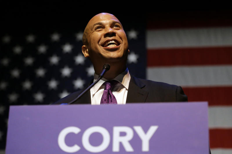 Newark Mayor Cory Booker talks to supporters during an election night victory party after winning a special election for the U.S. Senate, Wednesday, Oct. 16, 2013, in Newark, N.J. Booker and Republican Steve Lonegan faced off to fill the U.S. Senate seat left vacant by the death of Sen. Frank Lautenberg. (AP Photo/Julio Cortez)