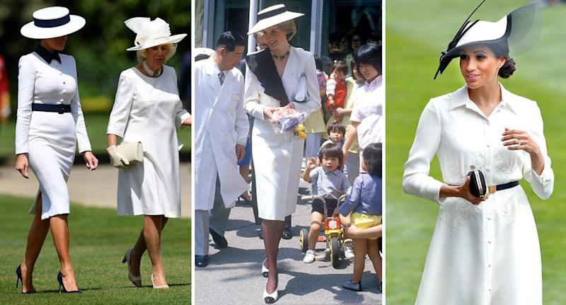 Melania Trump took style cues from Princess Diana and Meghan Markle. [Photo: Getty]