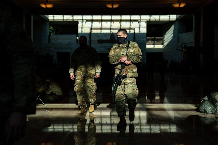 Members of the National Guard at the Capitol Visitor Center.