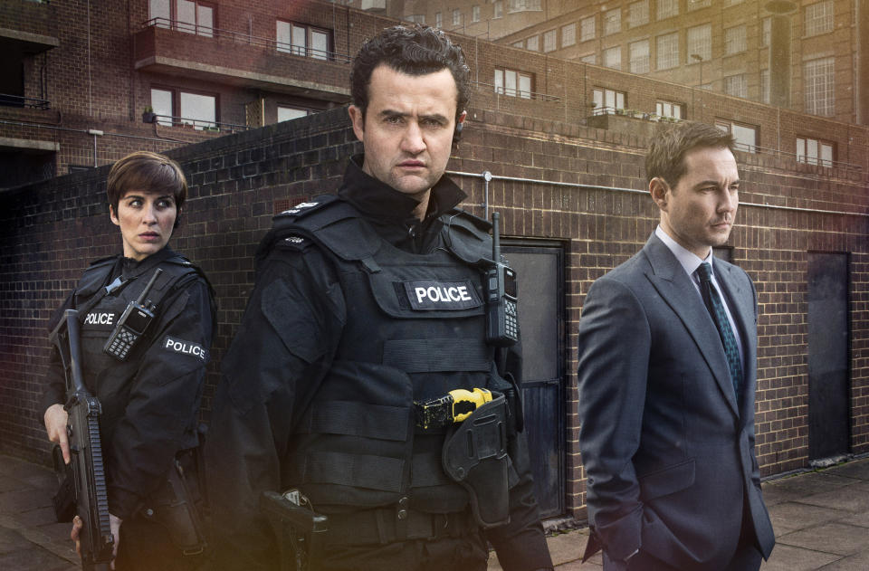 WARNING: Embargoed for publication until 00:00:01 on 15/03/2016 - Programme Name: Line of Duty - TX: n/a - Episode: n/a (No. 1) - Picture Shows:  Detective Constable Kate Fleming (VICKY McCLURE), Sgt Danny Waldron (DANIEL MAYS), Detective Sergeant Steve Arnott (MARTIN COMPSTON) - (C) World Productions - Photographer: Steffan Hill