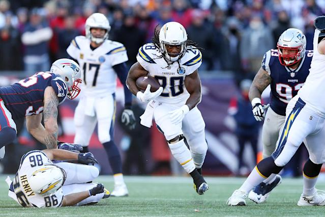 Los Angeles Chargers running back Melvin Gordon is one of four players holding out. (Getty Images)