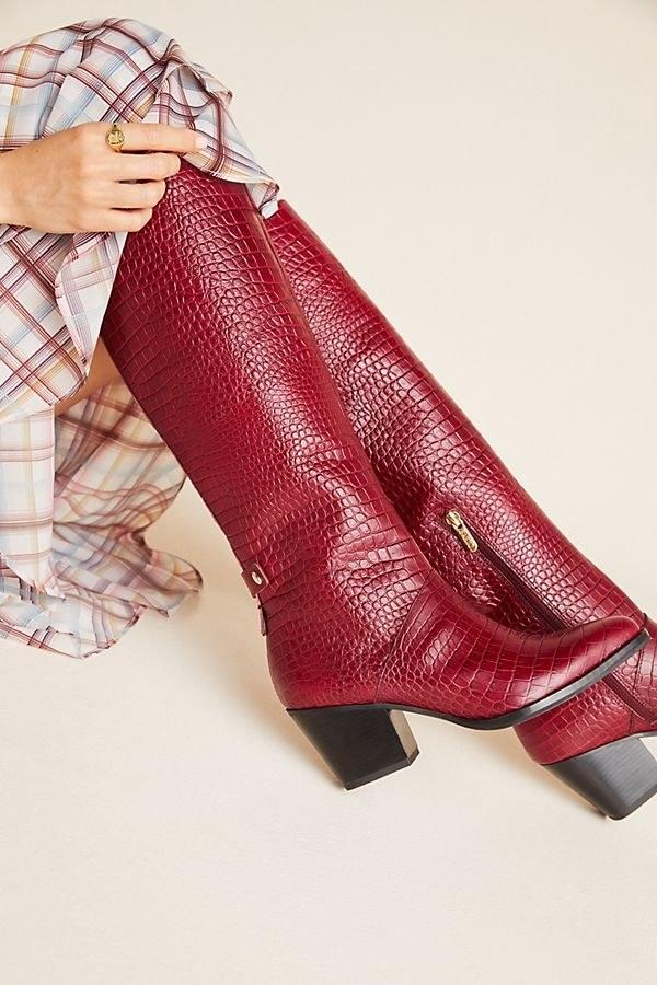 """$300, Anthropologie. <a href=""""https://www.anthropologie.com/shop/sarto-by-franco-sarto-knee-high-boots?category=SEARCHRESULTS&color=061"""" rel=""""nofollow noopener"""" target=""""_blank"""" data-ylk=""""slk:Get it now!"""" class=""""link rapid-noclick-resp"""">Get it now!</a>"""
