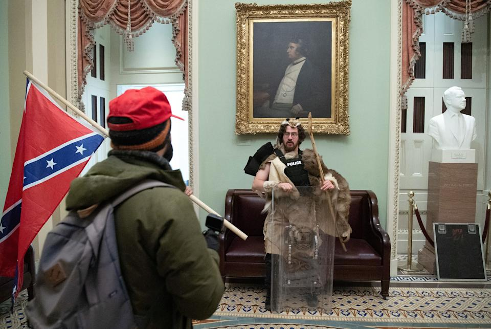 Aaron Mostofsky - dressed in fur - was among those arrested after Capitol riot (AFP via Getty Images)