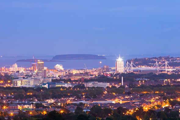 General view of Cardiff Cardiff Bay and Bristol Channel