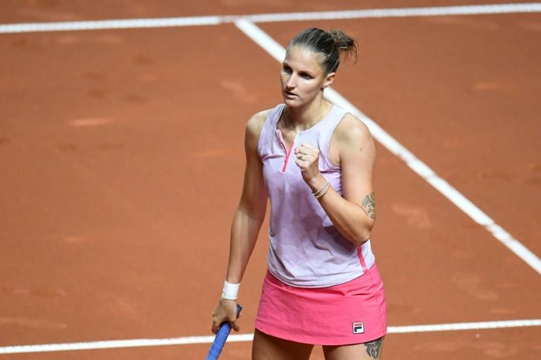 Karolina Pliskova of the Czech Republic celebrates her first round win over Germany's Tamara Korpatsch in Stuttgart on Wednesday