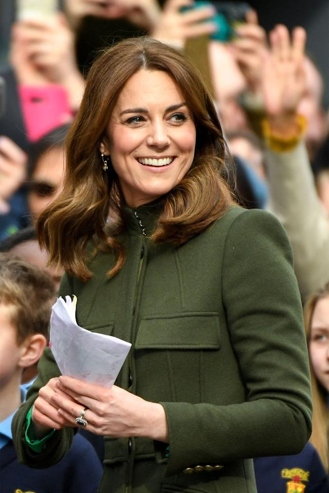 <p>The Duchess of Cambridge on a walkabout in Galway City Centre during day three of her visit to Ireland.</p>
