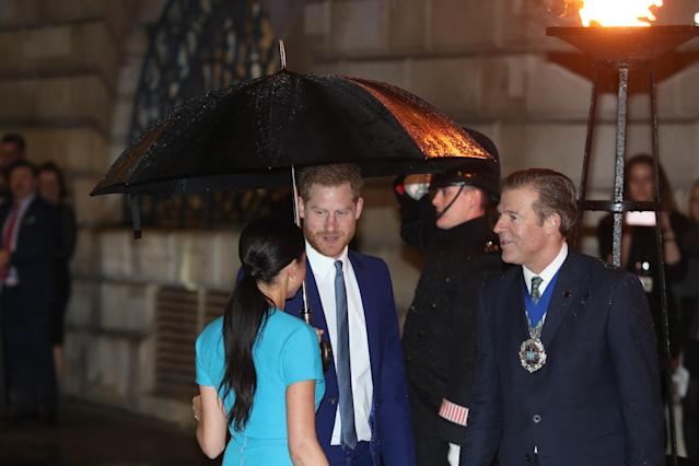 The duchess wore her hair back in a simple ponytail. (Getty Images)