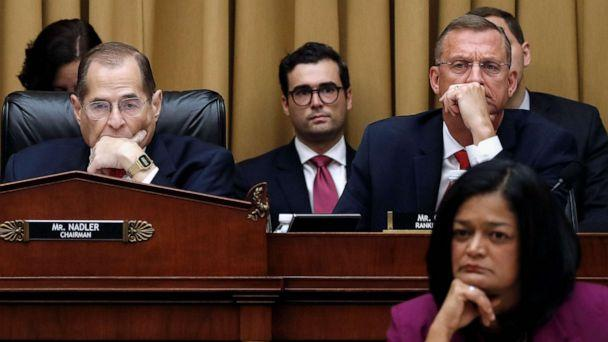 PHOTO: House Judiciary Committee Chairman Jerrold Nadler, left, Rep. Doug Collins, top right, and Rep. Pramila Jayapal, bottom right, listen as former special counsel Robert Mueller testifies, July 24, 2019, in Washington, D.C. (Alex Brandon/AP)