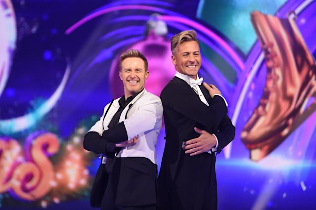 Ian 'H' Watkins and Matt Evers during the Dancing On Ice 2019 photocall at ITV Studios in December 2019 in London, England. (Stuart C Wilson/Getty Images)