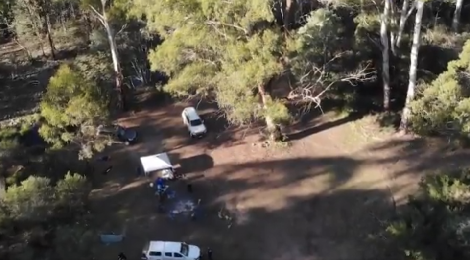 An aerial view of police at the Wonnangatta Valley site.