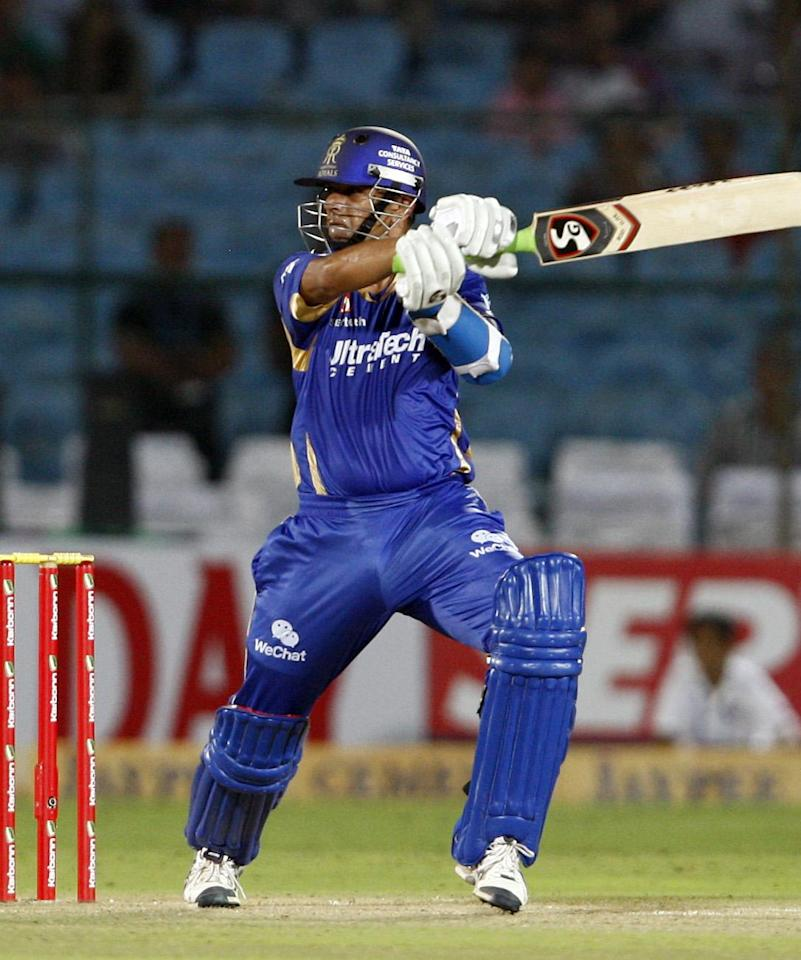 Rajasthan Royals captain Rahul Dravid in action during the match between Rajasthan Royals and Lions at Sawai Mansingh Stadium, Jaipur on Sept. 25, 2013. (Photo: IANS)