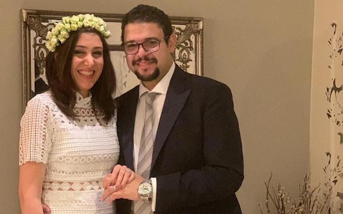 British newlywed Saeed Tahmasebi with his wife Niloofar Ebrahim