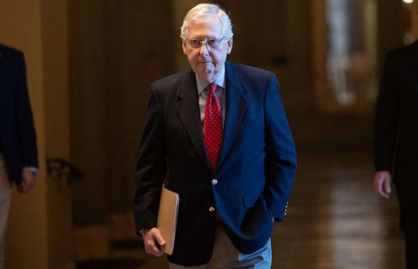 PHOTO: Senate Majority Leader Mitch McConnell walks to the Senate floor to try and add an additional $250 billion to small business coronavirus relief funds, at the Capitol in Washington, April 9, 2020. (Saul Loeb/AFP via Getty Images)