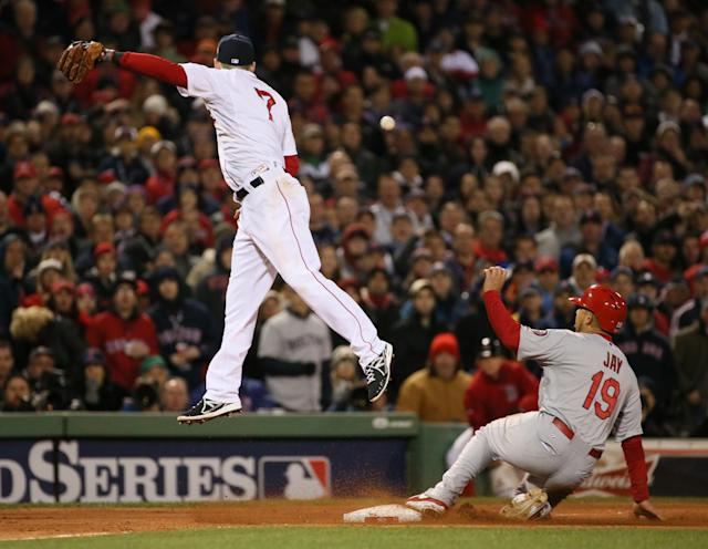 Boston Red Sox shortstop Stephen Drew is unable to catch the errant throw from pitcher Craig Breslow as St. Louis Cardinals' Jon Jay reaches third safely on a Matt Carpenter sacrifice fly in the seventh inning during Game 2 of the World Series between the St. Louis Cardinals and the Boston Red Sox on Thursday, Oct. 24, 2013, at Fenway Park in Boston. Jay scored on the error. (AP Photo/St. Louis Post-Dispatch, Chris Lee)