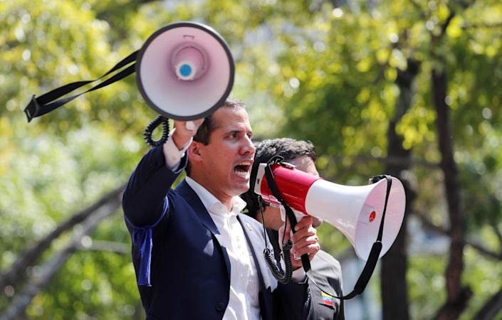 Venezuelan opposition leader Juan Guaido, who many nations have recognised as the country's rightful interim ruler, talks to supporters in Caracas, Venezuela April 30, 2019. (Photo: Carlos Garcia Rawlins/Reuters)