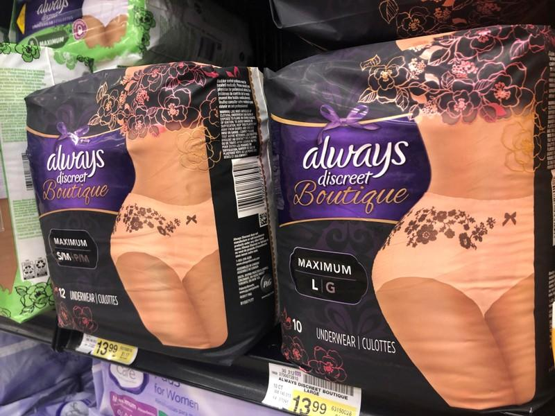 Adult diapers marketed as feminine and sexy are displayed in a grocery store in Chicago