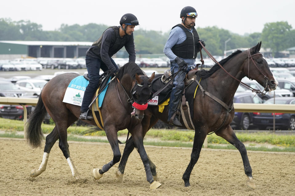 Hot Rod Charlie trains the day before the 153rd running of the Belmont Stakes horse race in Elmont, N.Y., Friday, June 4, 2021. (AP Photo/Seth Wenig)