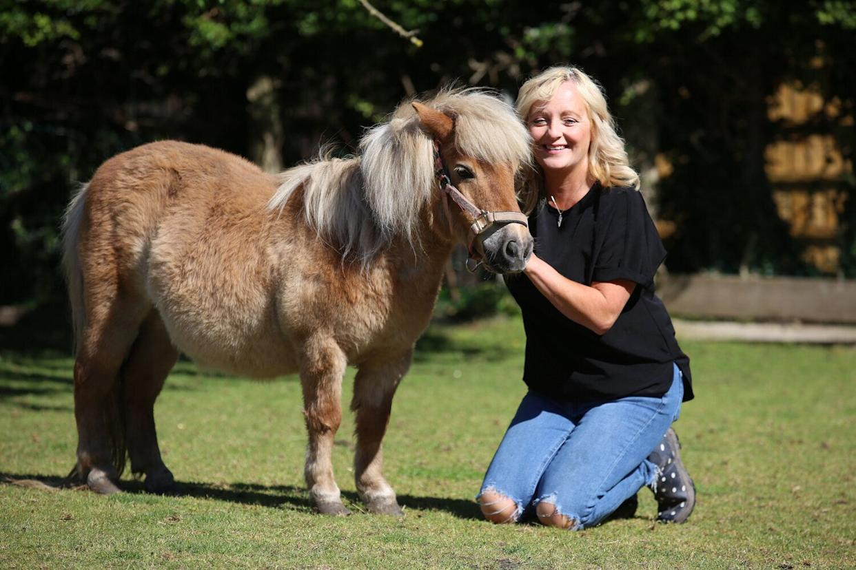 Mandy Marsh with HER pony Peaches and goat Betty who were terrorised by two raccoons which escaped from a nearby home.