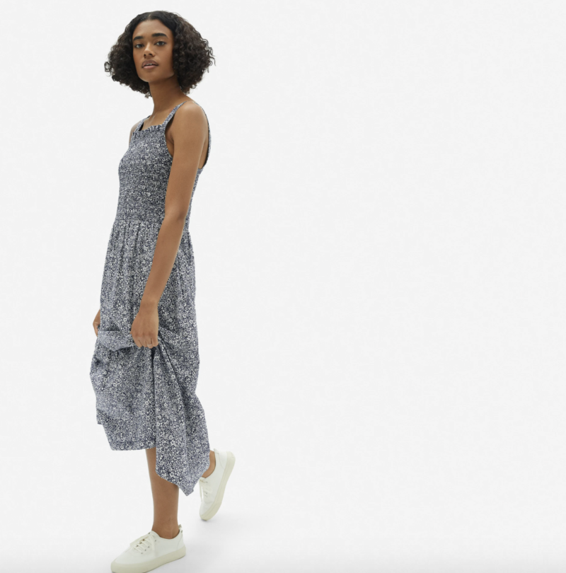 Everlane Smock Dress in Dark Floral