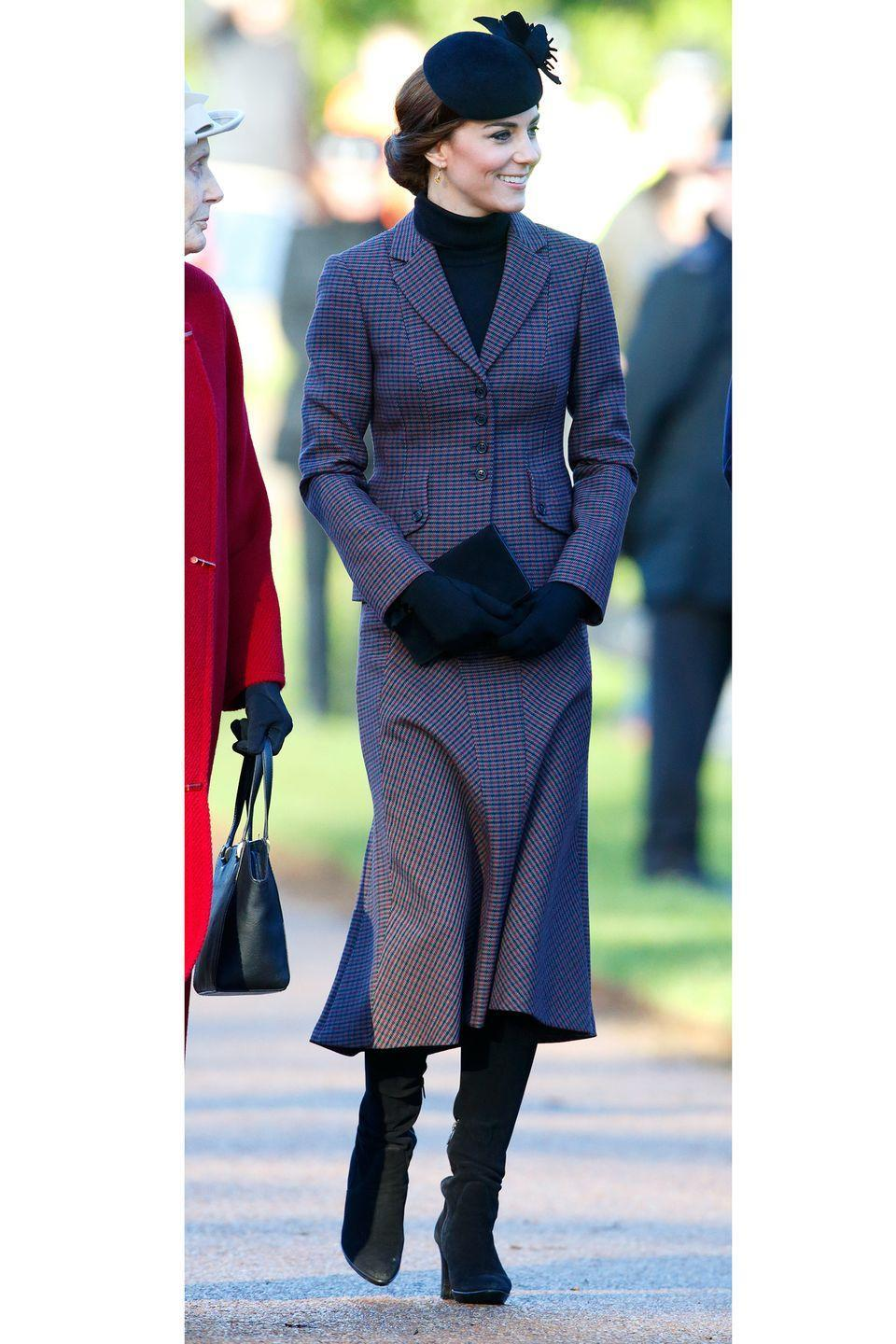 <p>The Duchess of Cambridge recycled a chic, tweed suit by Michael Kors that she recently wore before the New Year—proving that even royalty wears the same thing twice. </p>
