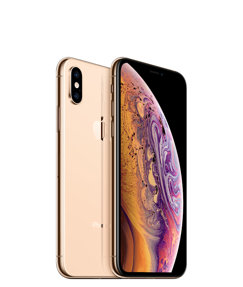 Two rose-gold Apple iPhone XS's.