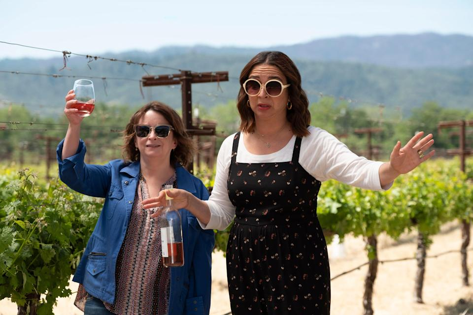 """<p>Who wouldn't want to go to Napa Valley for a weekend of wine and laughs with Amy Poehler, Maya Rudolph, and Rachel Dratch? <em>Wine Country</em> follows a group of friends who travel to the gorgeous California destination for a 50th birthday getaway. As they reminisce over large glasses of Pinot Noir, you'll feel every bit a part of the fun. </p> <p><em>Available to stream on</em> <a href=""""https://www.netflix.com/title/80194950"""" rel=""""nofollow noopener"""" target=""""_blank"""" data-ylk=""""slk:Netflix"""" class=""""link rapid-noclick-resp""""><em>Netflix</em></a><em>.</em></p>"""