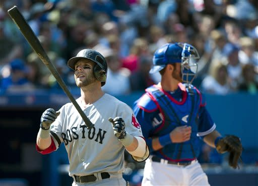 Boston Red Sox's Dustin Pedroia flips his bat up after striking out as Toronto Blue Jays catcher J.P. Arencibia, right, looks on during the third inning of a baseball game in Toronto on Sunday, Sept. 16, 2012. (AP Photo/The Canadian Press, Nathan Denette)