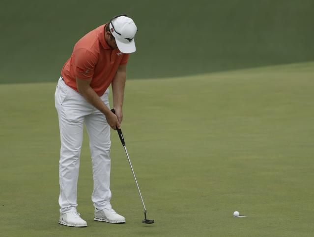 Eddie Pepperell, of England, putts on the 10th hole during the third round for the Masters golf tournament Saturday, April 13, 2019, in Augusta, Ga. (AP Photo/Marcio Jose Sanchez)
