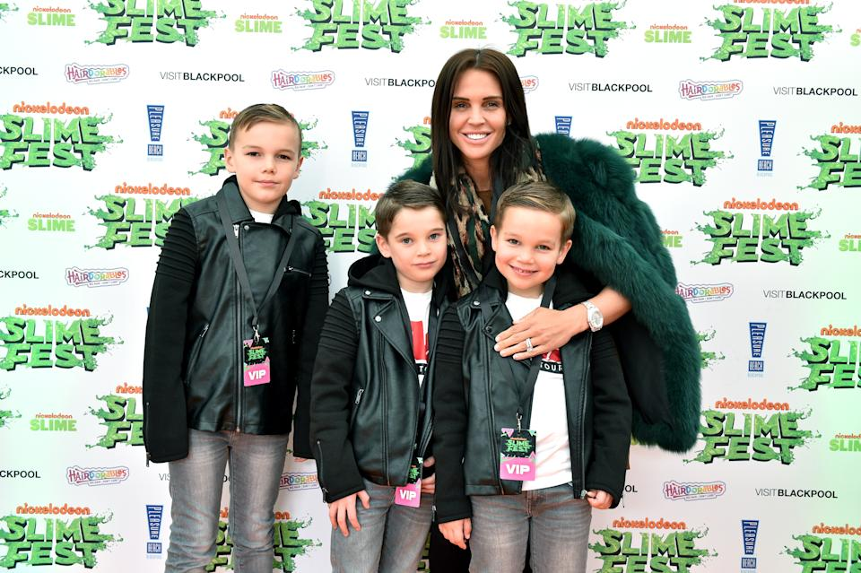 BLACKPOOL, ENGLAND - OCTOBER 19: (L-R) Archie O'Hara, George O'Hara, Danielle Lloyd and Harry O'Hara attend the Nickelodoen Slimefest at Blackpool Pleasure Beach on October 19, 2019 in Blackpool, England. (Photo by Shirlaine Forrest/Getty Images for Nickelodeon Slimefest)